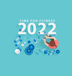 2022 happy new year time for fitness in gym vector