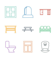 9 interior icons vector