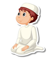 A sticker template with muslim boy in praying vector