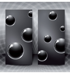 Abstract figures with black glass balls inside vector image
