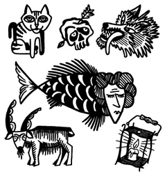 animals and lamp vector image
