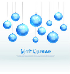 awesome blue christmas balls design for xmas vector image