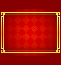 blank chinese card background with golden line fra vector image