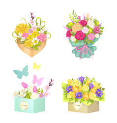 Bouquets and flowers set vector