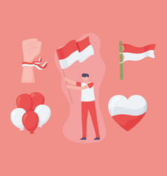 Boy with flag indonesia vector