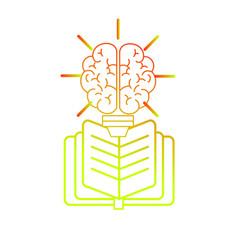 Brain and book design vector