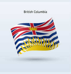 Canadian province british columbia flag waving vector