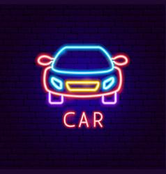 car neon label vector image