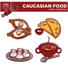 Caucasian cuisine food traditional dishes vector