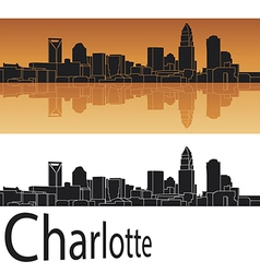 Charlotte skyline in orange background vector image