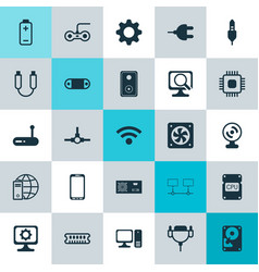 Computer icons set collection of radio set vector