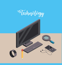 Computer with smarphone and smartwatch technology vector