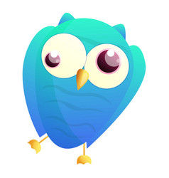 Crazy blue owl icon cartoon style vector