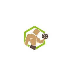 creative green hexagon bodybuilder training logo vector image