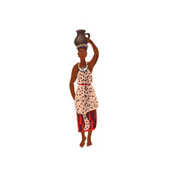 Cute african aborigine woman with ceramic water vector