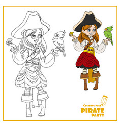 cute cartoon girl in pirate costume with parrot vector image