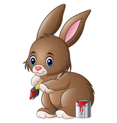Cute easter bunny with paint and brush vector