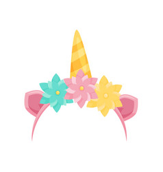 Cute hair hoop with pink ears unicorn s horn and vector