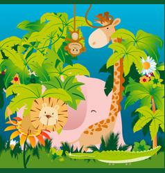 cute jungle animals vector image