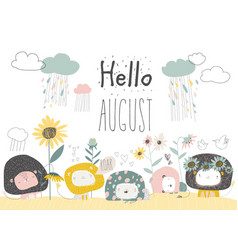Cute lions with flowers and clouds hello august vector