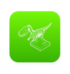 dinosaur skeleton icon green vector image