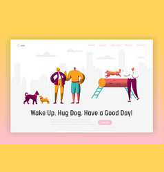 Dog and man spend time together landing page vector