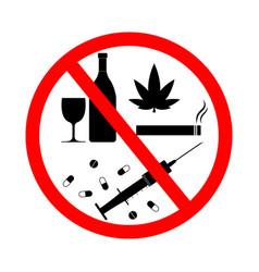 Drug alcohol smoke vape sign forbidden tobacco vector