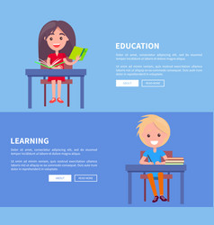Education learning set of posters with boy and vector