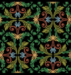 Embroidery baroque seamless pattern colorful vector