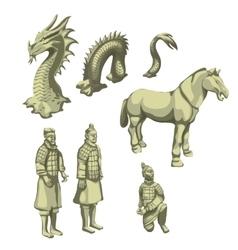 Figures samurai horse and serpent big set vector