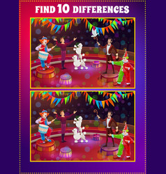 Find differences kids game with circus performers vector