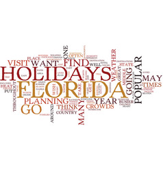 Florida holidays text background word cloud vector