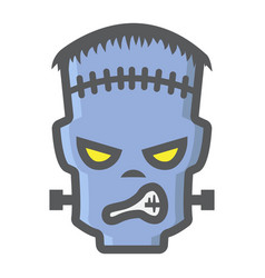 Frankenstein filled outline icon halloween scary vector