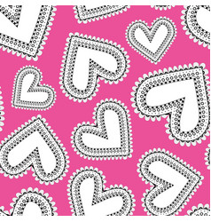 funky doodle scatter hearts on pink background vector image