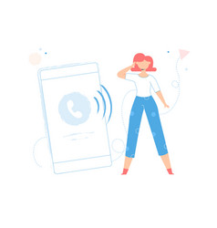 girl is near to a big smartphone vector image