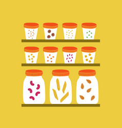 Glass jars with grains vector