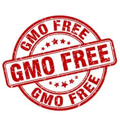 Gmo free red grunge stamp vector