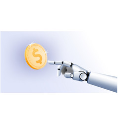 gold us dollar coin smartphones futuristic robot vector image
