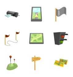 Gps and navigation icons set cartoon style vector