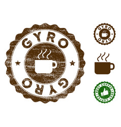 Gyro stamp seal with scratched surface vector