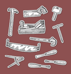 Hand drawn carpentry elements stickers set vector