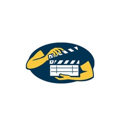 Hand Holding Movie Clapboard Oval Retro vector