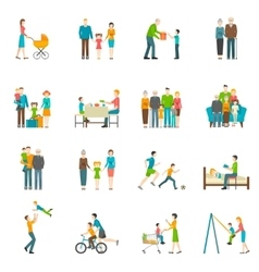 Happy Family Flat Icons vector image