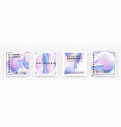 Hologram social banners square rainbow foil vector