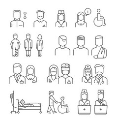 Hospital staff thin line icons set vector