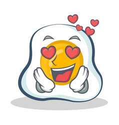 in love fried egg character cartoon vector image