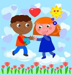 interracial romantic young love vector image
