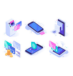 isometric online payments electronic finances vector image