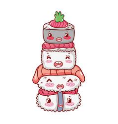 Kawaii stacked sushi food japanese cartoon sushi vector