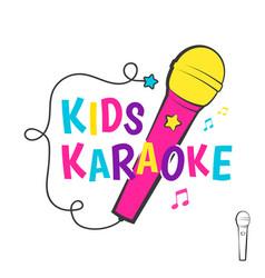 Kids karaoke emblem vector